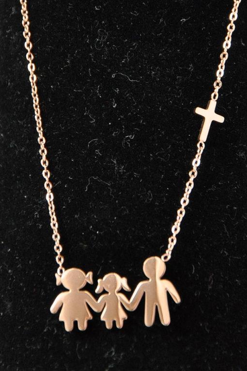 Κολιέ οικογένεια ατσάλινο με μαμά, μπαμπά, κόρη σε ροζ-χρυσή απόχρωση
