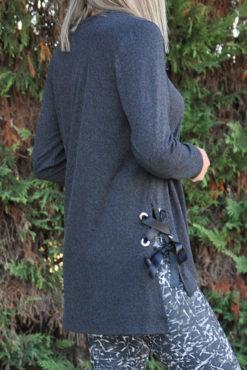 Μπλούζα ασύμμετρη με δέσιμο στο πλάι ανθρακί