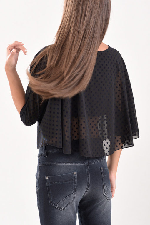 Μπλούζα cropped από πουά διαφάνεια μαύρη