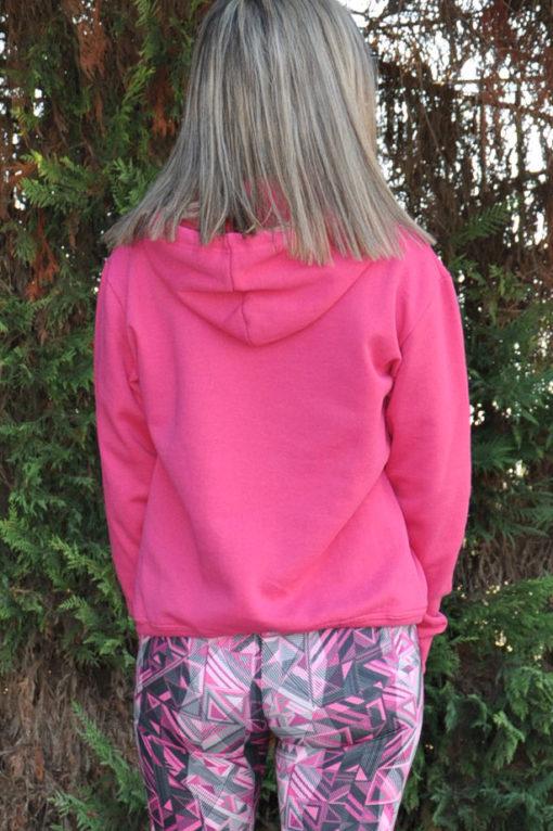 Μπλούζα φούτερ με στάμπα και κουκούλα φούξια