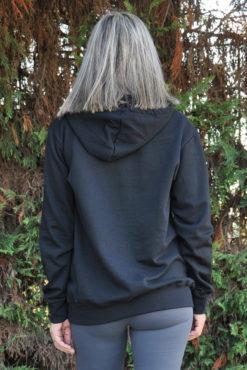 Μπλούζα φούτερ με στάμπα και κουκούλα μαύρη