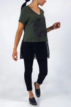 Μπλούζα με τύπωμα Game Changer και δαντέλα στο τελείωμα