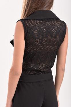 Ολόσωμη φόρμα με διάτρητη πλεκτή πλάτη και ζωνάκι στη μέση