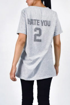 T-shirt με στρασάκια hate you 2