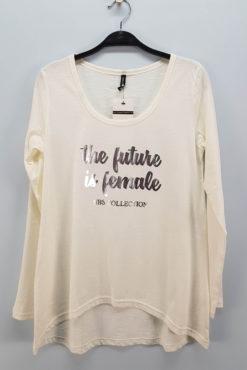 "T-shirt μακρυμάνικο με τύπωμα ""the future is female"" σε εκρού"