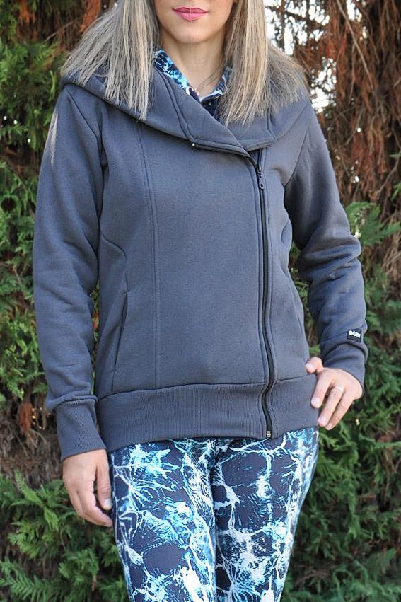 79f133444cde Γυναικεία ζακέτα φούτερ με κουκούλα και φερμουάρ μπροστά γκρι