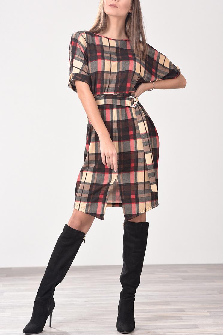 ce9b665590c Φόρεμα με ζωνάκι στη μέση καρό (μπεζ, κόκκινο, μαύρο)