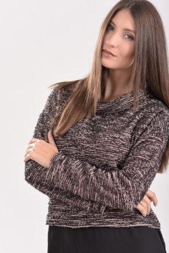 Μπλούζα πλεκτή με διαφάνεια στο τελείωμα (μαύρο-nude)