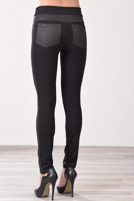 Παντελόνι κολάν από ανάγλυφη δερματίνη μαύρο