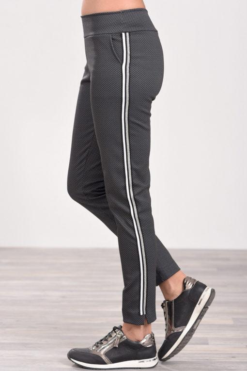 Παντελόνι με διακοσμητική τρέσα στο πλάι ανθρακί