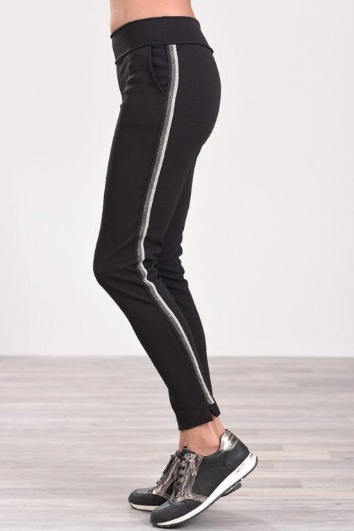 Παντελόνι με διακοσμητική τρέσα στο πλάι μαύρο
