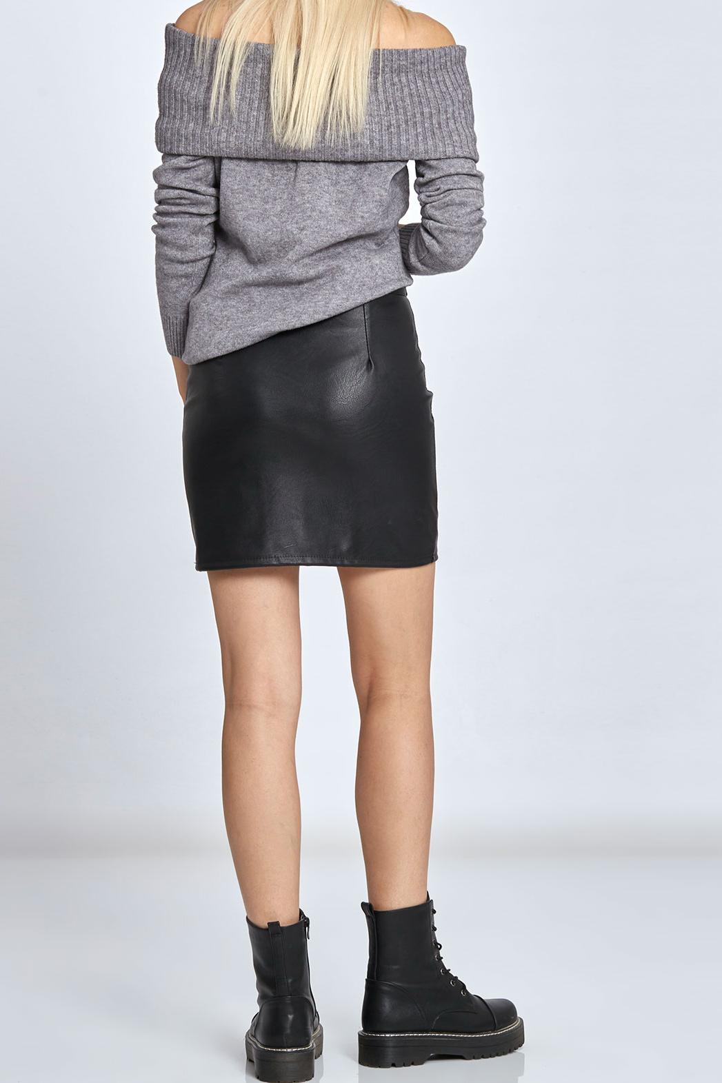 1ab3e703ca63 Μίνι φούστα από δερματίνη με φερμουάρ μπροστά μαύρη