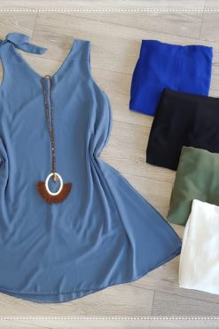 Φόρεμα αμάνικο μουσελίνα σε άλφα γραμμή