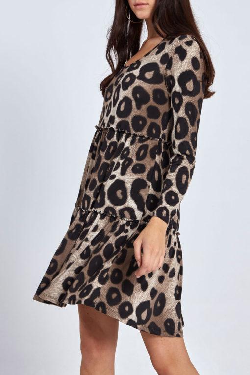 Φόρεμα λεοπάρ κοντό με βολάν