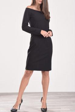 Φόρεμα midi μακρυμάνικο με έξω ώμους μαύρο