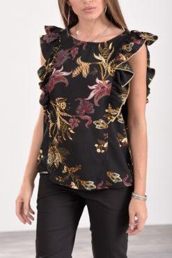 Μπλούζα αμάνικη με βολάν στους ώμους floral μαύρη