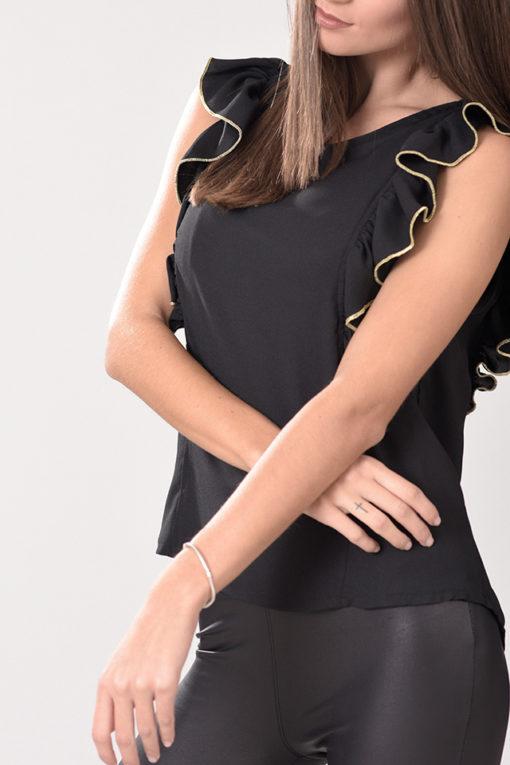 Μπλούζα αμάνικη με βολάν στους ώμους και χρυσαφί τελείωμα μαύρη