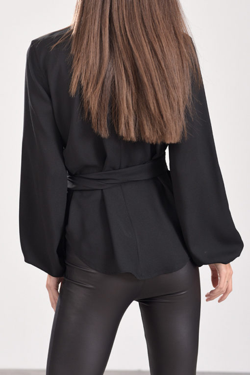 Μπλούζα κρουαζέ με δέσιμο μπροστά και λάστιχο στο μανίκι μαύρη