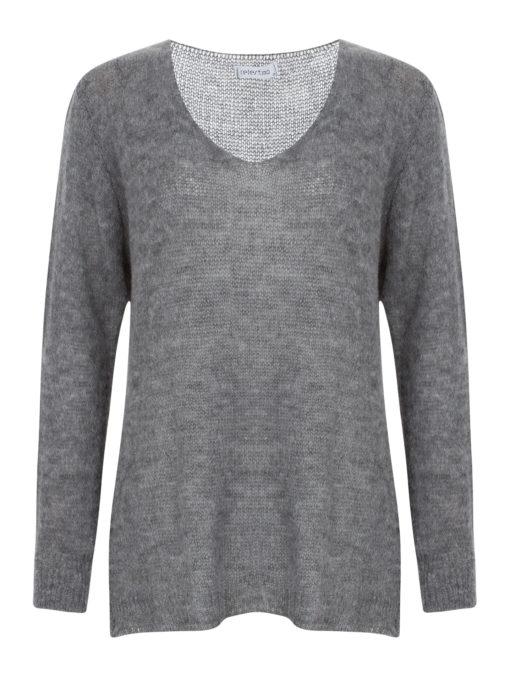 Πλεκτή μπλούζα με ανοιχτή V λαιμόκοψη γκρι