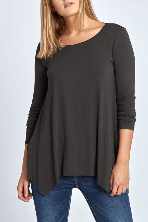 Plus size μακρυμάνικη μπλούζα με μύτες ανθρακί
