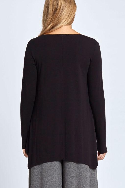 Plus size μακρυμάνικη μπλούζα με μύτες μαύρη