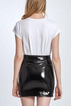 Mini vinyl φούστα μαύρη