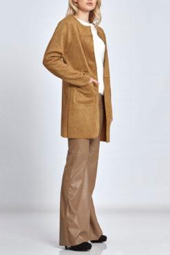 Μακρύ σακάκι τύπου σαμουά με τσέπες