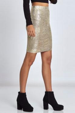 Μίνι φούστα μεταλλιζέ χρυσαφί