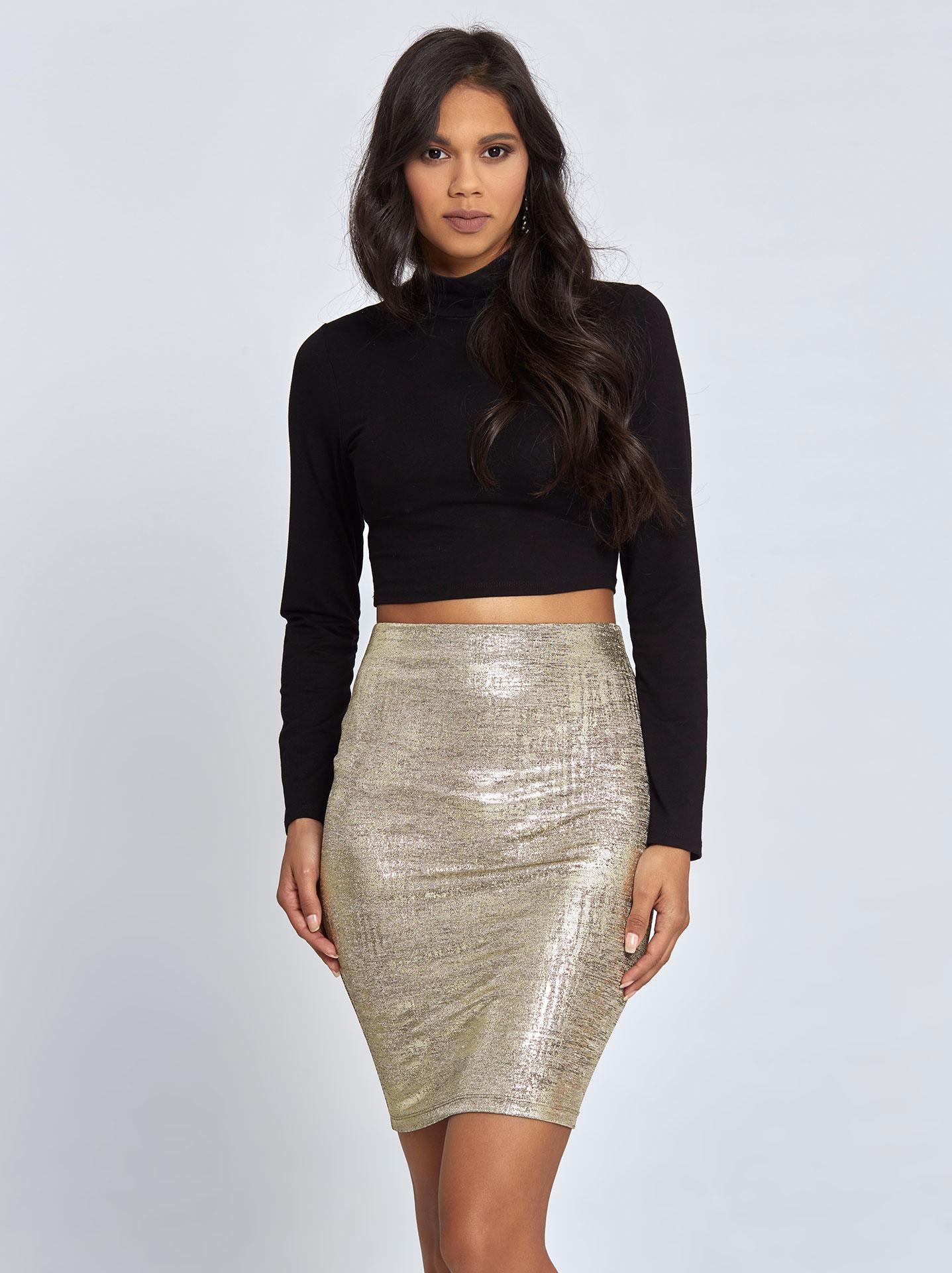 Μίνι φούστα μεταλλιζέ χρυσαφί σε μαύρο χρώμα 4c319812f18