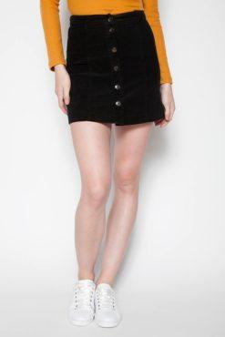 Μίνι φούστα κοτλέ με κουμπιά μπροστά