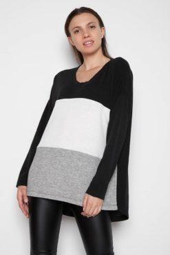 Μπλούζα μακριά πλεκτή με συνδυασμό χρωμάτων (μαύρο-λευκό-γκρι)