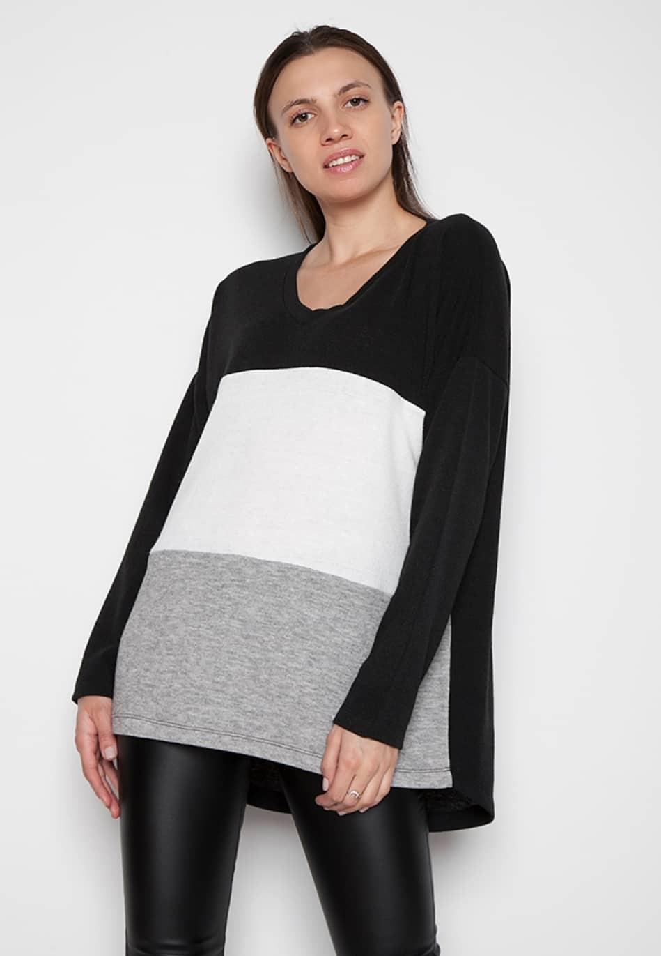 Γυναικεία μπλούζα μακριά πλεκτή με συνδυασμό (μαύρο-λευκό-γκρι) c515c6fca6f