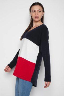 Μπλούζα μακριά πλεκτή με συνδυασμό χρωμάτων (μαύρο-λευκό-κόκκινο)