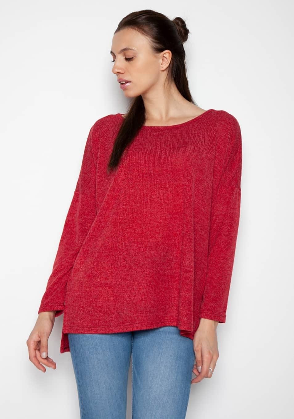 f9505c607662 Γυναικεία μπλούζα ασύμμετρη μακρυμάνικη κόκκινη σε άνετη γραμμή
