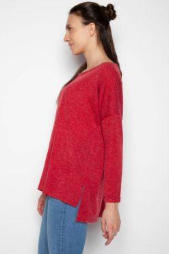 Μπλούζα ασύμμετρη μακρυμάνικη κόκκινη