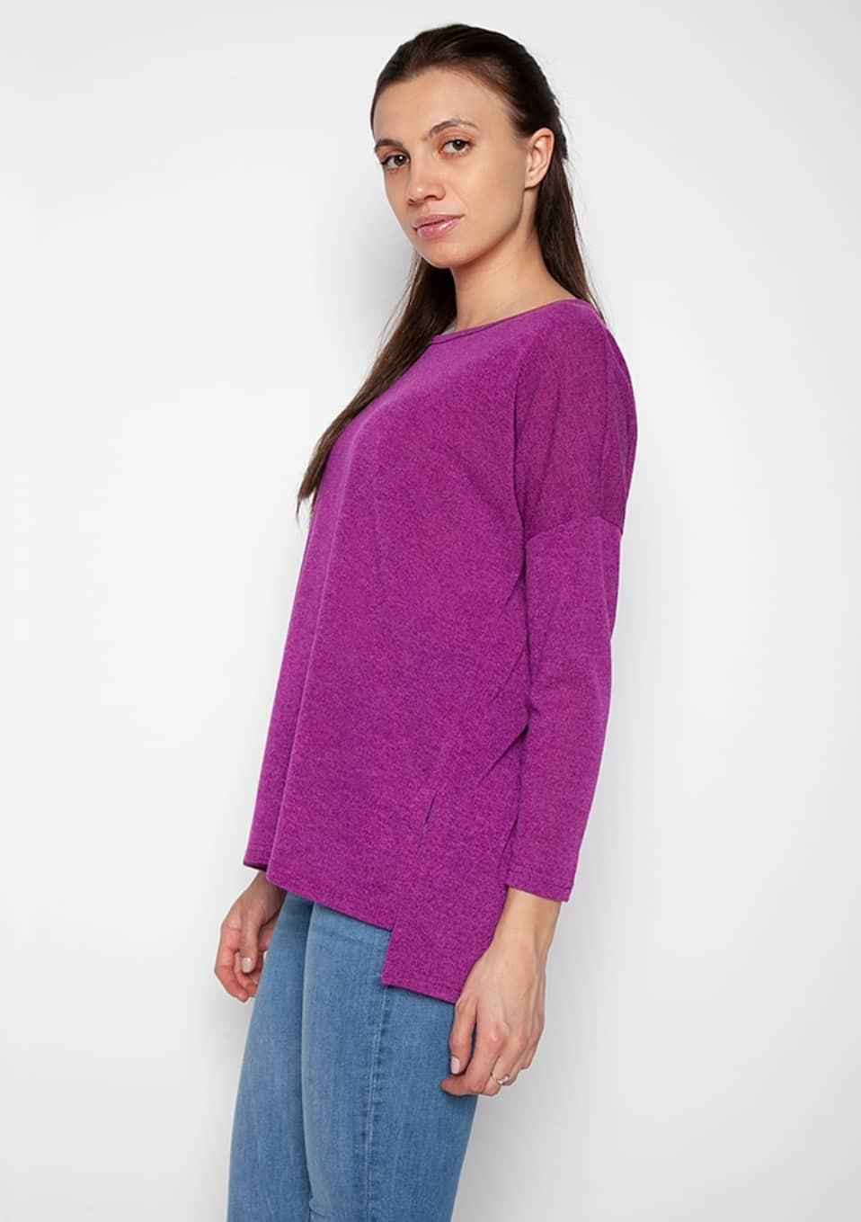 a37852927d28 Γυναικεία μπλούζα ασύμμετρη μακρυμάνικη μωβ σε άνετη γραμμή
