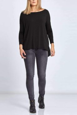 Plus size ασύμμετρη μπλούζα ανθρακί