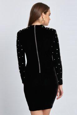 Βελούδινο μίνι φόρεμα με πέρλες σε μαύρο