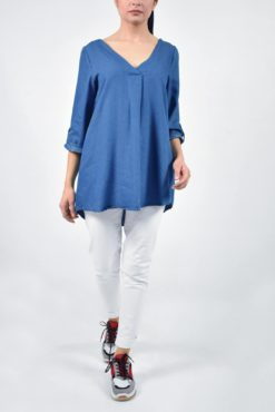 Denim ασύμμετρη μπλούζα με V λαιμόκοψη