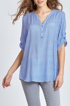 Καρό μπλούζα με κουμπάκια σε γαλάζιο
