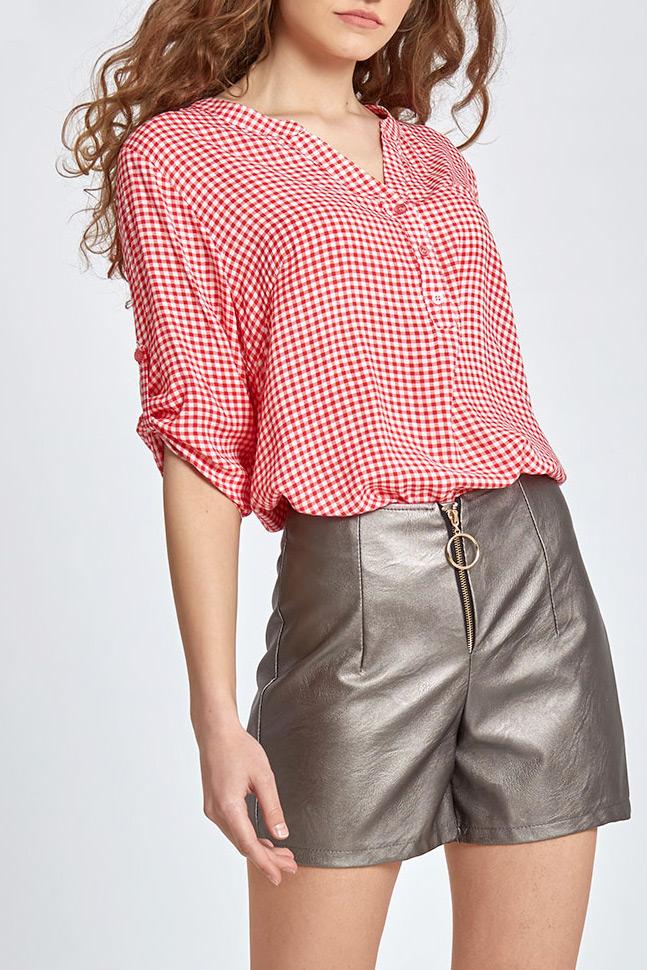 d78e2137314a Καρό (κόκκινο-άσπρο) μπλούζα με κουμπάκια μπροστά - €16