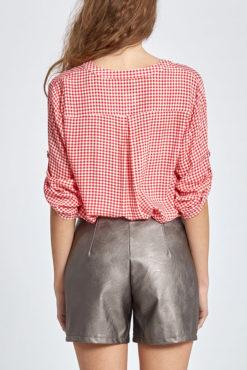 Καρό μπλούζα με κουμπάκια σε κόκκινο