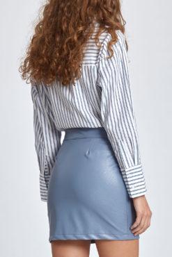 Mini φούστα δερματίνη σιέλ