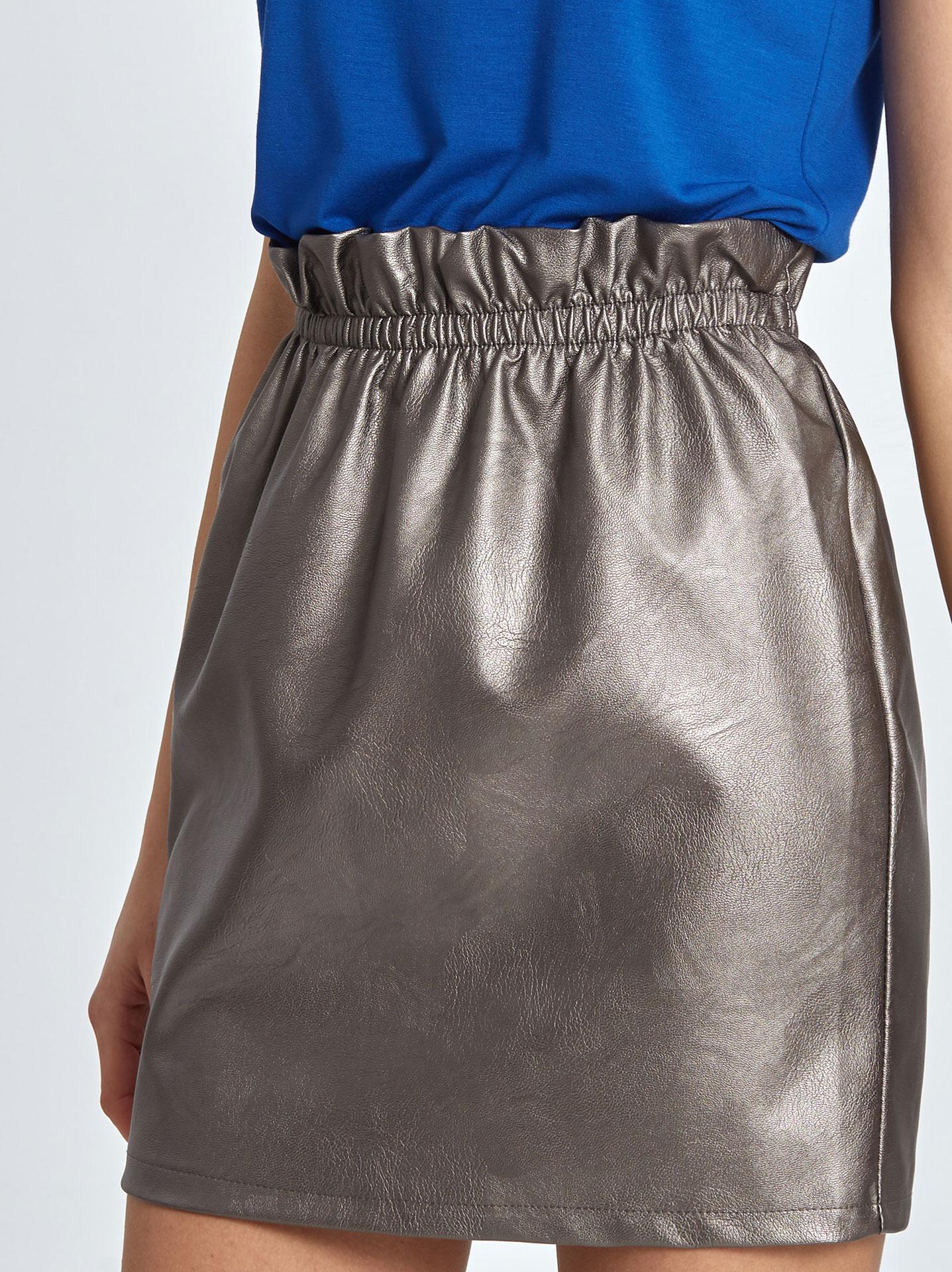 dd5800da9ed Mini φούστα δερματίνη με λάστιχο στην μέση μπρονζέ - €12,95