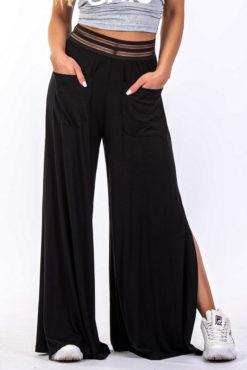 Παντελόνα μαύρη με σκίσιμο στο πλάι