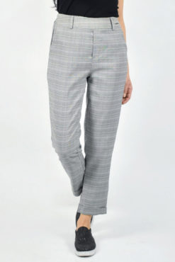 Παντελόνι με ρεβέρ καρό γκρι