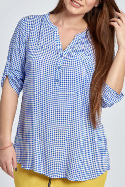 Plus size καρό μπλούζα με κουμπάκια σε γαλάζιο