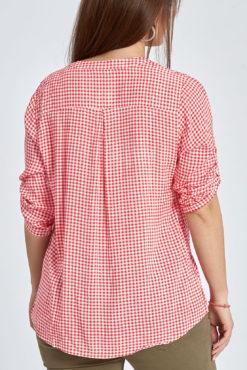 Plus size καρό μπλούζα με κουμπάκια σε κόκκινο