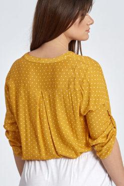 Plus size μπλούζα πουά με κουμπάκια σε μουσταρδί