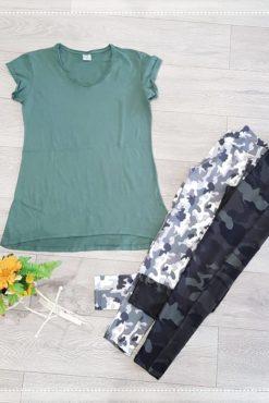 Μπλούζα ασύμμετρη + κολάν με τύπωμα παραλλαγής